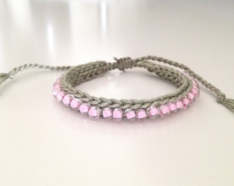 Crochet bracelet with seed beads gray pink Friendship Bracelet Grey Pink Crocheted Beaded Friendship Bracelet