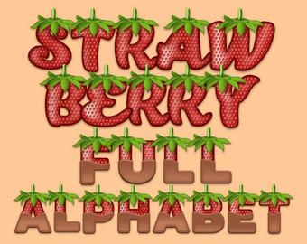 Strawberry - Alphabet Clipart - 816 png files 300 dpi Strawberry Letters