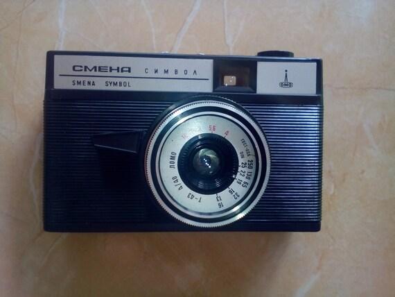 Vintage Smena Symbol Camera. Original leather case. Black Leather Case