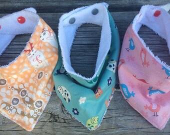 Baby bib set,  baby bandana bib, baby bandana scarf, dribble bib, drool bib, scarf bib, teething bib, cotton & terry towel bib, baby shower