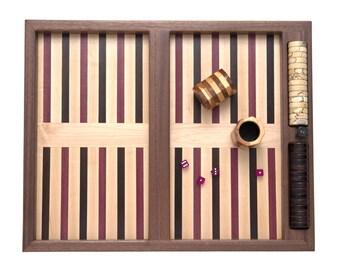 Backgammon Luxury Set: backgammon set unique wooden table top - modern backgammon board exotic woods