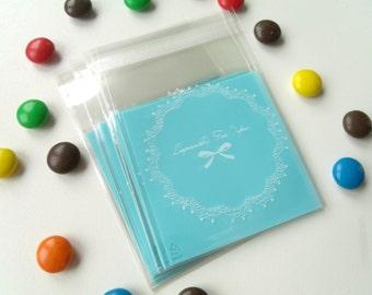 10 mini transparent blue 6.8cmx7cm gift bags pouches