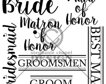 Bridal party SVG, Bridal party clipart, Vector art, Svg, Eps, Pdf, SVG files for Silhouette Cameo and Cricut, 1 zip file