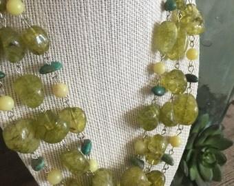 Peridot Turquoise Multistrand Necklace