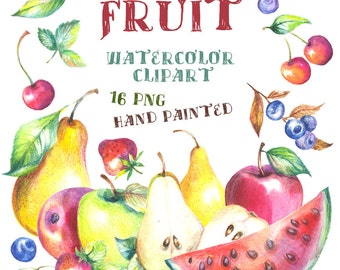 Watercolor Fruits clipart, Painted Clip Art, Digital Watercolor Clipart, Food Watercolor Clipart, fruit illustration, apple pear strawberry