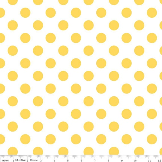 Yellow Polka Dot Fabric - Riley Blake Medium Dot - Yellow and ...