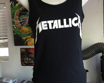 Women's Metallica Tank Top With Lace Back