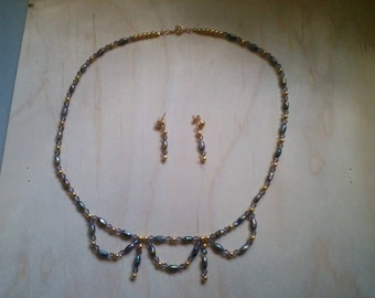 Black & gold necklace and earring set
