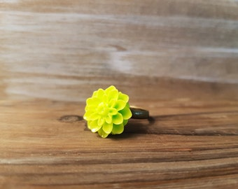 60% OFF CLEARANCE SALE Lime Green Chrysanthemum Mums Ring / Flower Fashion Ring
