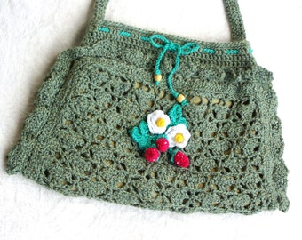 """Crochet Purse: """"GREEN PURSE"""" Women's Crochet Purse with white flowers , green Crochet Hand Bag , Crochet Clutch , Gift for Her A65"""