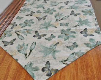 Table Runner Seafoam Floral with Butterflies French Motif