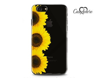 iPhone 7 case, iPhone 6s case, iPhone 6 case, iPhone 6 Plus case, Clear case, Clear Rubber, Galaxy S7 case, Samsung Galaxy case, Sunflowers