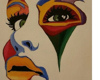 colorfull face handmade oil painting on canvas
