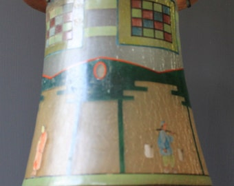 Vintage 1920's Art Deco Large Hall Light Shade with Hand Painted Oriental design