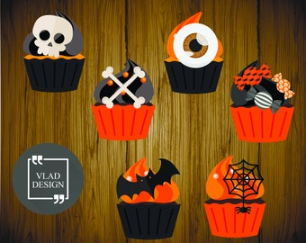 6 Design Halloween Clipart Halloween Candy Digital Halloween Cupcake Cute Halloween graphics Black Orange Cakes