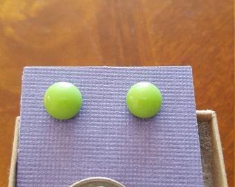 Spring Green Glass Studs