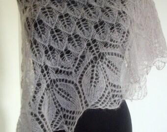 Mohair silk triangular lace shawl. Hand knitted. Color rusett.
