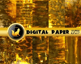 Gold Splash Watercolor paper,Gold Scrapbook Paper,Gold Watercolor Background, Watercolor Background,digital paper,Watercolor paper,scrapbook