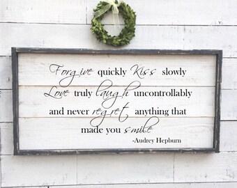 audrey hepburn quote sign, vintage wood sign