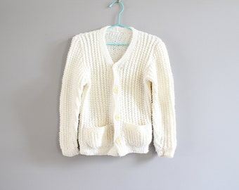 Vintage Hand Knitted Cream White Cardigan Size 3 - 4 Years Old #k010a