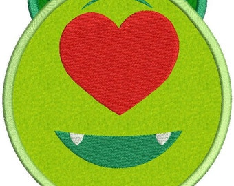 Emoji Mike Wazowski Heart Love Disney Applique Embroidery Design