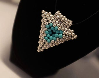 3d beaded triangle Pendant with neck cord