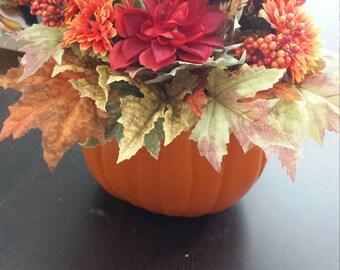 Fall craft pumpkin table centerpiece