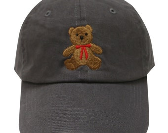 Capsule Design Teddy Bear Cotton Baseball Dad Cap Dark Gray