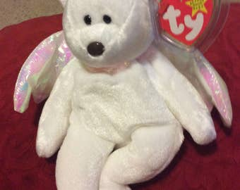 """Retired RARE Mint condition Ty """"Halo"""" bear  beanie baby"""