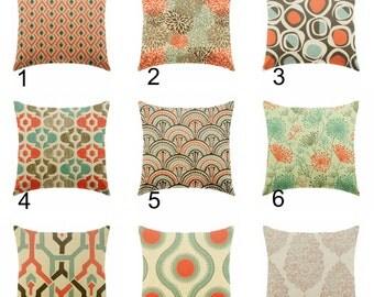 orange pillow - brown pillows - linen pillows - pillow cover only - cushion cover -ZIPPER CLOSURE