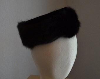 Black Sable Fur and Velvet Pillbox hat