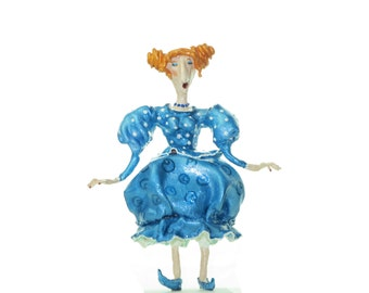 Art doll Mademoiselle in blue