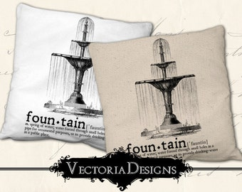 Fountain Dictionary digital transfer image iron on printable instant download digital collage sheet VDTRVI0894