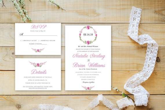 Floral wedding invite word_28,INSTANT DOWNLOAD, Editable Wedding template invitation. Microsoft Word template.Wedding Printable