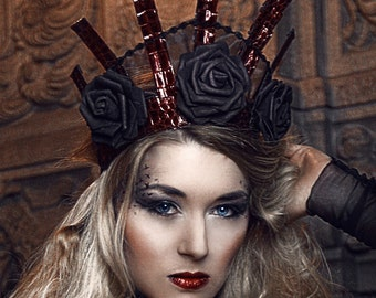 Rose Red Headdress Kokoshnik