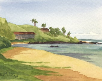 Hawaii beach watercolor original art - Papaa Bay : Kauai beach painting, Hawaii artwork, ocean art, Hawaiian art, original painting
