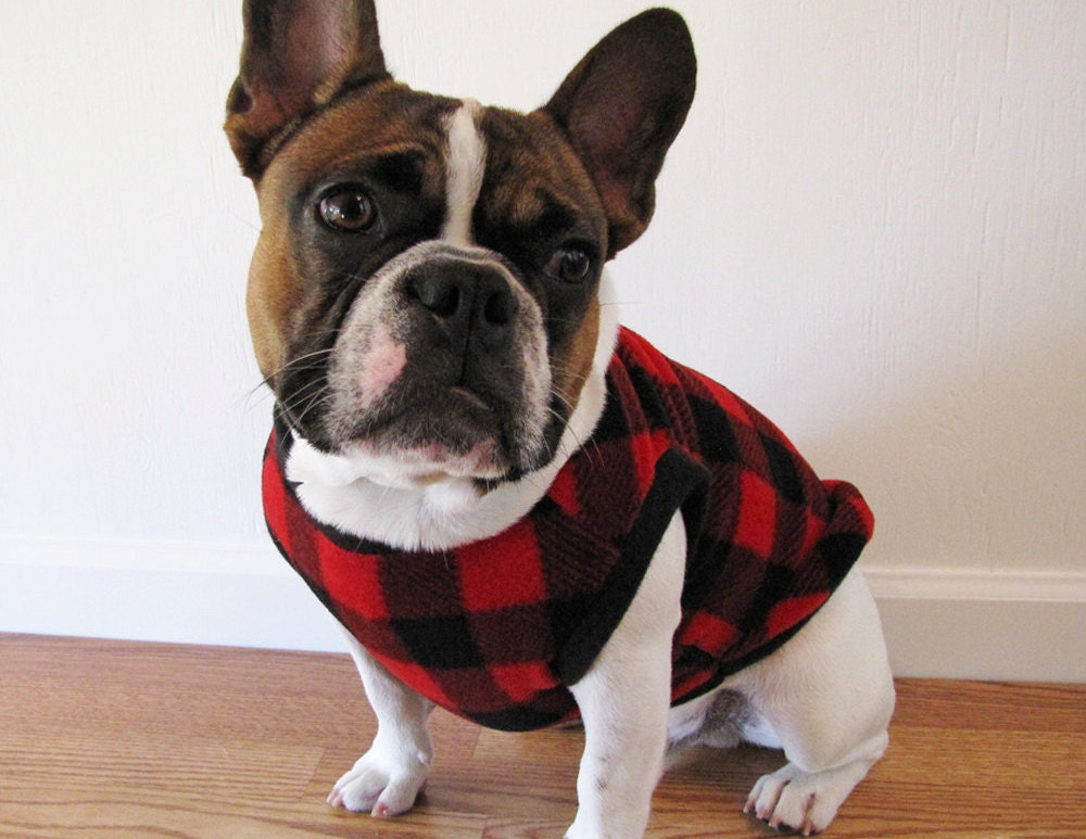 Fleece Dog Sweater | Black and Red Plaid Fleece Dog Sweater | Boston Terrier/French Bulldog/Pug