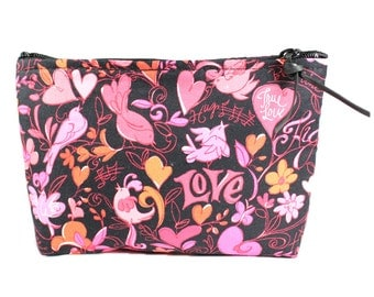 "7"" Love Hearts Pouch Makeup Cosmetic Bag"