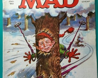 Mad Magazine Alfred E Neuman Skiing Thru a Tree This Issue Jan 1980 No. 212 Issue