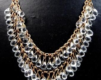 Victorian Gilt Brass & Glass Double Strand Necklace