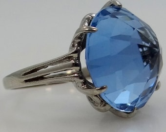 1930's 10k White Gold and HUGE Blue Topaz with Unusual Facets