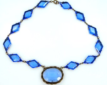 1930s Czechoslovakia Blue Glass & Gilt Brass Necklace