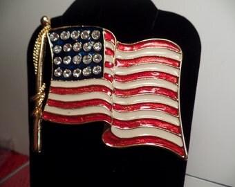 Large American Flag Brooch