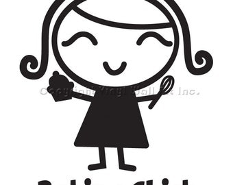 Baking Chick Vinyl Car Decal - Car Sticker, Laptop Sticker, Window Decal, Personalized Decal,