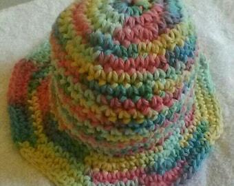 Candy Pastels Cotton Sunhat - Crochet Summer Hat - Girl Hat - Summer Hat for Girl - Cute Girl's Hat - Handmade Hat - Sun Hat - Ready to Ship