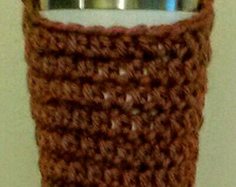 Toasty Brown Crocheted Water Bottle Carrier - Beverage Tote - Drink Bag - Festival Water Holder - Shoulder Length Strap - Ready to Ship