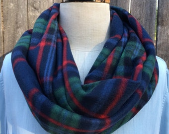SALE! Super Soft warm fleece infinity circle wrap scarf classic red green navy blue preppy holiday plaid