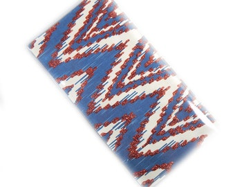 Checkbook Cover - Red White and Blue ikat chevron - zig zag checkbook holder - modern geometric check book case - patriotic red and blue