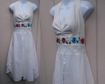 70s broomstick crinkle gauze Mexican Halter Sundress style Folklorico Dress - Peasant Pixie Scarf Hem Tie-Back // Sz Lge - xL