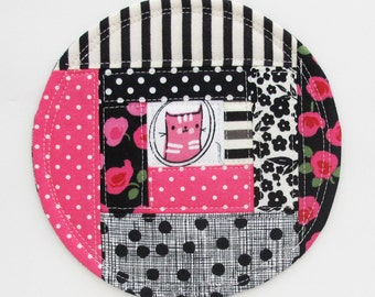 Kitty Patchwork Coaster 2016.8 | Pink Black Grey Patchwork Fabric Drink Coaster | Mug Rug Trivet Plant Coaster